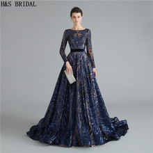 Navy Blue Long Sleeves Prom Dresses Sequins dress