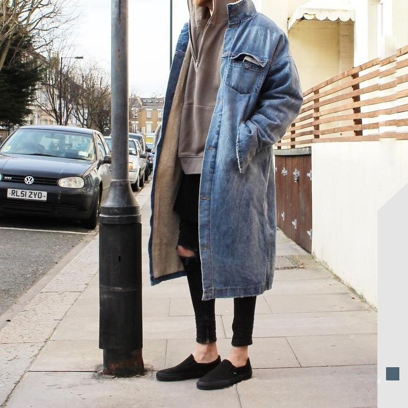 2KG! Winter Fleece Long Denim Jacket Men Warm Stand Collar Thick Man Coats Jeans Jacket Mens Streetwear Windbreaker