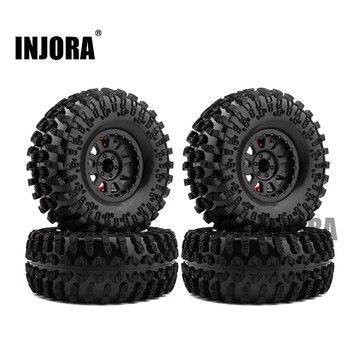 4PCS 2.2 Inch Rubber Tyres & Plastic Beadlock Wheel Rim for 1:10 RC Rock Crawler Axial SCX10 RR10 Wraith Yeti RC Car 1