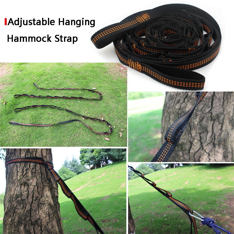 Outdoor Hammock Tied Rope Special Tied Tree Straps High Load-bearing Ribbon Slings Set Knot 2.8m14 Ring Orange Blue White