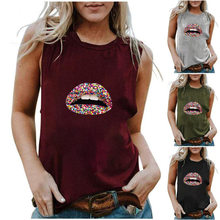 Nuove donne fashionSummer pirnt spallacci t-shirt casual donna basic o collo t-shirt senza maniche chic leisure Streetwear top
