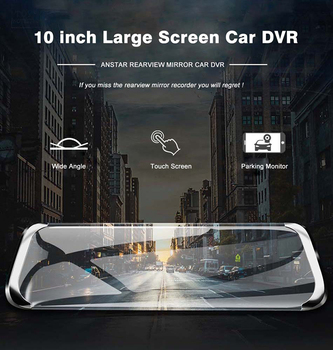 Car Hd 10-Inch Full IPS Touch Screen Dash CAM Auto Data Recorder Car DVR Android Ios 5G 4G Rearview Camera 1080P F800 GPS Camera image