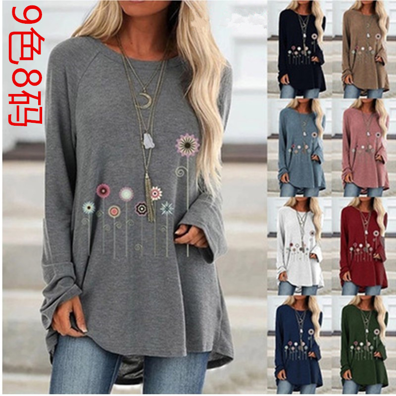 Hot Sale Floral Print Casual Loose Long T-Shirts For Women Spring 2020 Ladies Fashion Cotton O-Neck Long Sleeve T-Shirts Tops