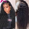 Парик из натуральных бразильских волос с глубокой волной, длинными кружевными передними волосами 13x4, 28, 30 дюймов, 150%