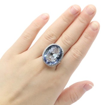25x21mm Highly Recommend Top Selling 22x18mm Created Fire Mystic Rainbow Violet Topaz Zircon Women Jewelry SheCrown Silver Rings