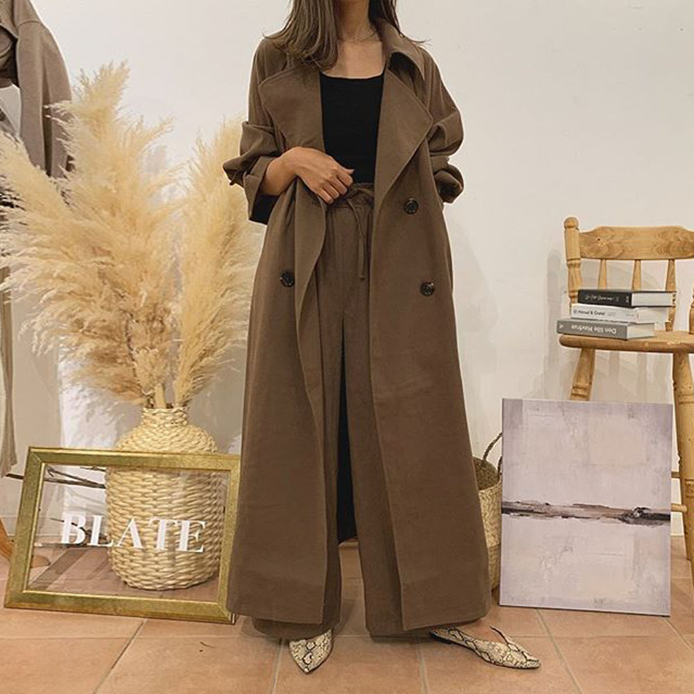 Two Piece Sets Women Autumn Elegant Office Ladies Solid Long Trench Coat And Sashes Wide Legs Pants Suits Korean Style Brown