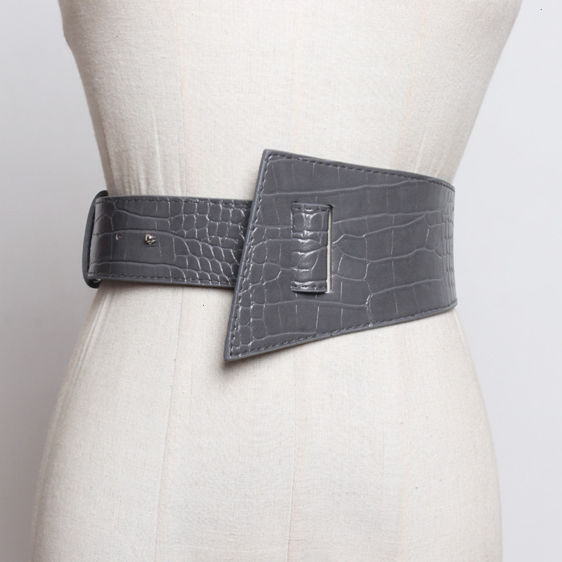 WKOUD EAM 2020 Spring New Design Fashion Trendy Belt Women Solid Crocodile Casual Leather Asymmetric Wide Waistband Female ZJ999