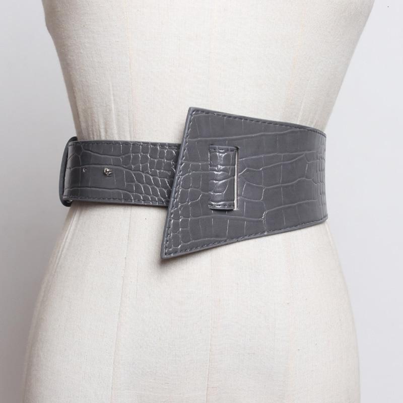 WKOUD EAM 2020 Spring New Design Fashion Trendy Belt Women Solid Crocodile Casual Leather Asymmetric Wide Waistband Female ZJ999