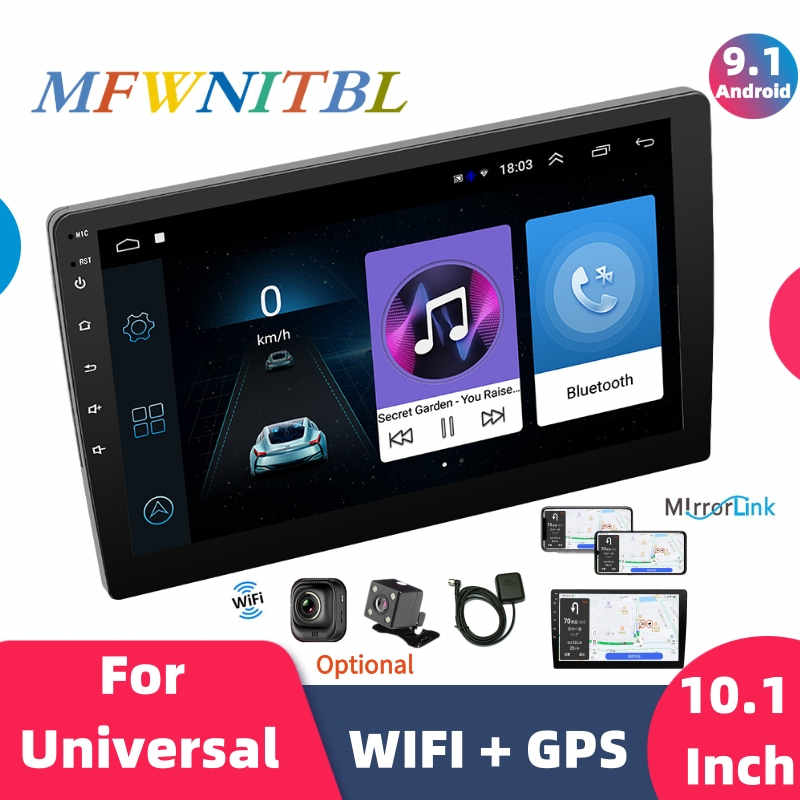 "10.1 ""Car Multimedia Player Gps Radio 2 Din Android 9.1 Auto Stereo Bluetooth Wifi Audio Spiegel Link MP5 Speler achteruitrijcamera"