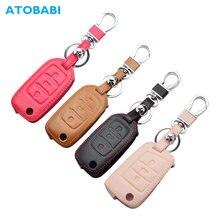 Lederen Auto Key Case Voor Vw Volkswagen Polo Golf Passat Beetle Caddy T5 Up Eos Tiguan Skoda A5 Seat Leon altea Flip Afstandsbediening Cover