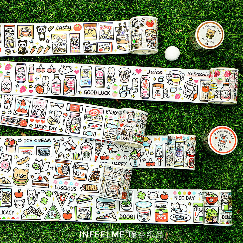 50mm Wide Snack Gas Station Series Bullet Journal Washi Tape Decorative Adhesive Tape DIY Scrapbooking Sticker Label