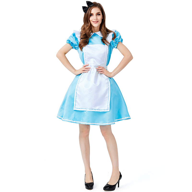 Ladies <font><b>Alice</b></font> <font><b>in</b></font> <font><b>Wonderland</b></font> <font><b>Costume</b></font> <font><b>Sexy</b></font> Lolita French Wench Halloween Blue Hen Party Maid Outfit image