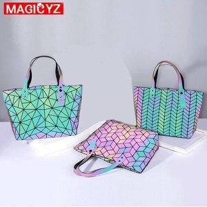 Image 4 - Sac à main holographique laser de grande capacité pour femmes, sac à bandoulière géométrique irrégulière lumineux pour fille, grand sac pour ordinateur portable de bureau
