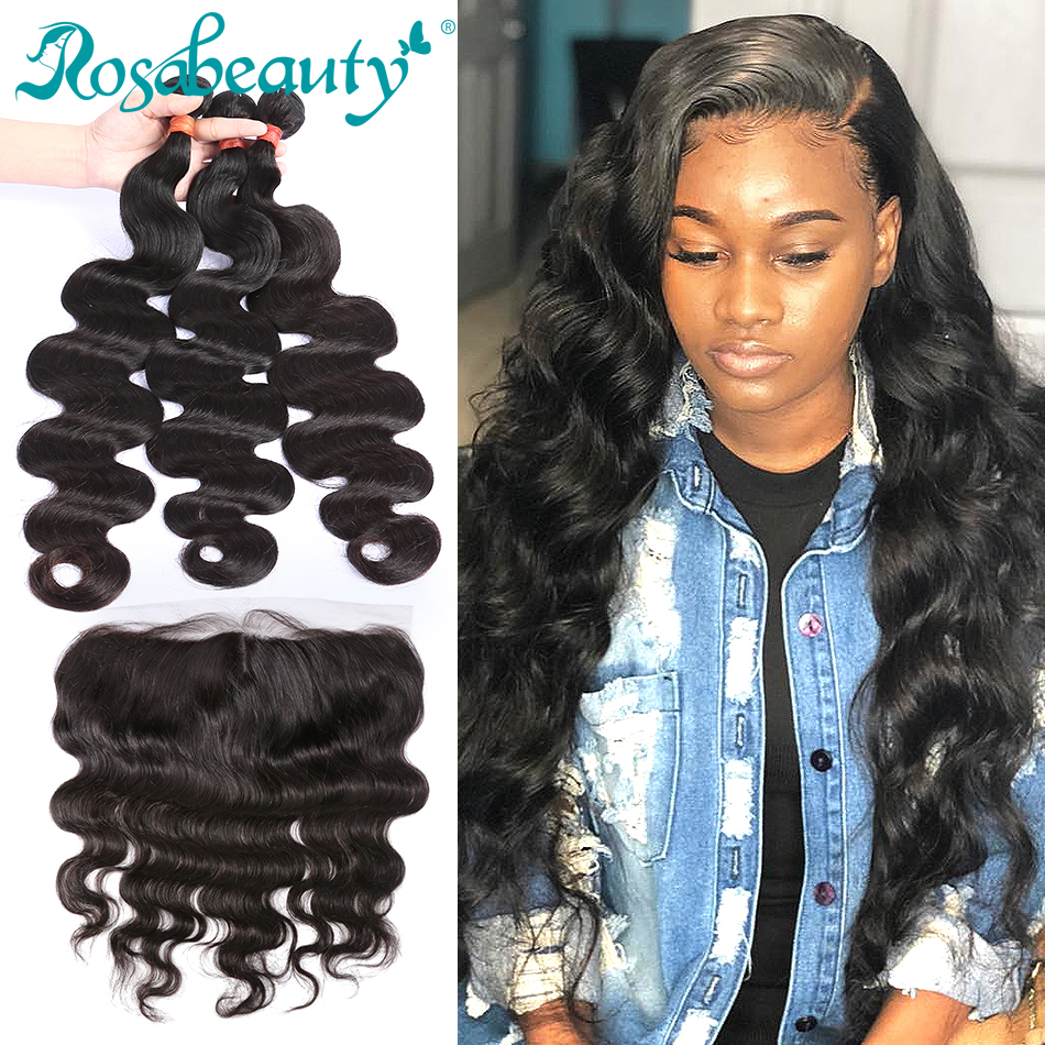 Rosabeauty Brazilian Human Hair Weave Body Wave 3 4 Bundles With Lace Frontal Closure Remy Hair 26 28 30 32 34 40 Inch