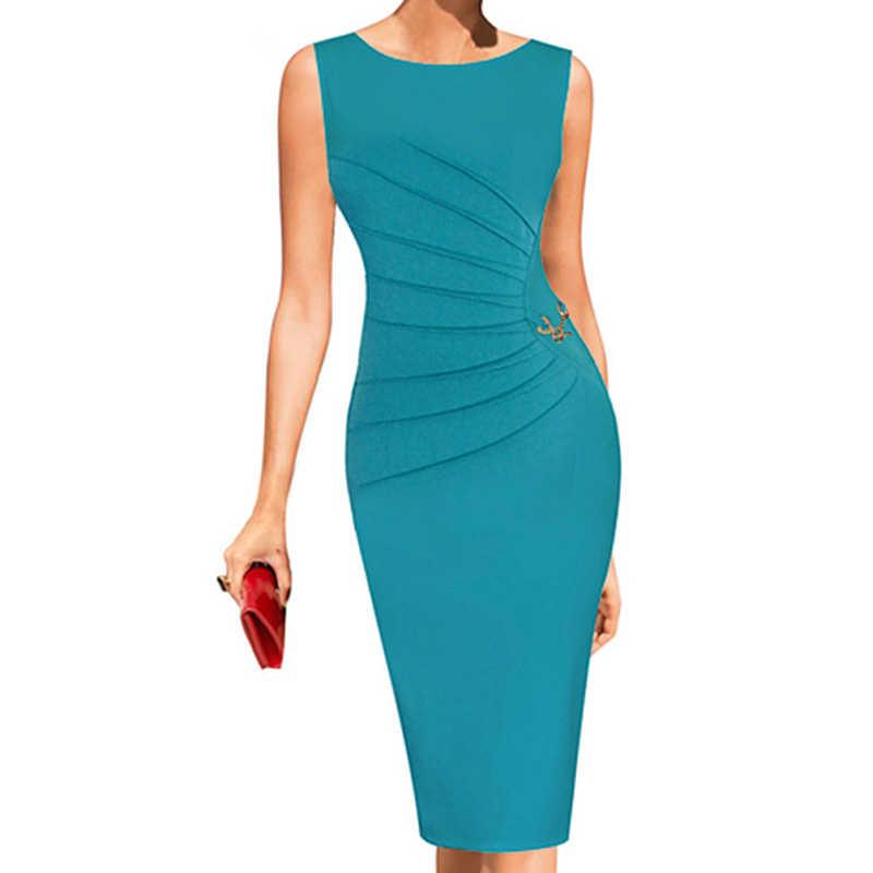 Joineles Elegant สไตล์ M ~ 4XL Solid ผู้หญิง Ruched Bodycon ชุดดินสอหญิงคลับปาร์ตี้ vestidos