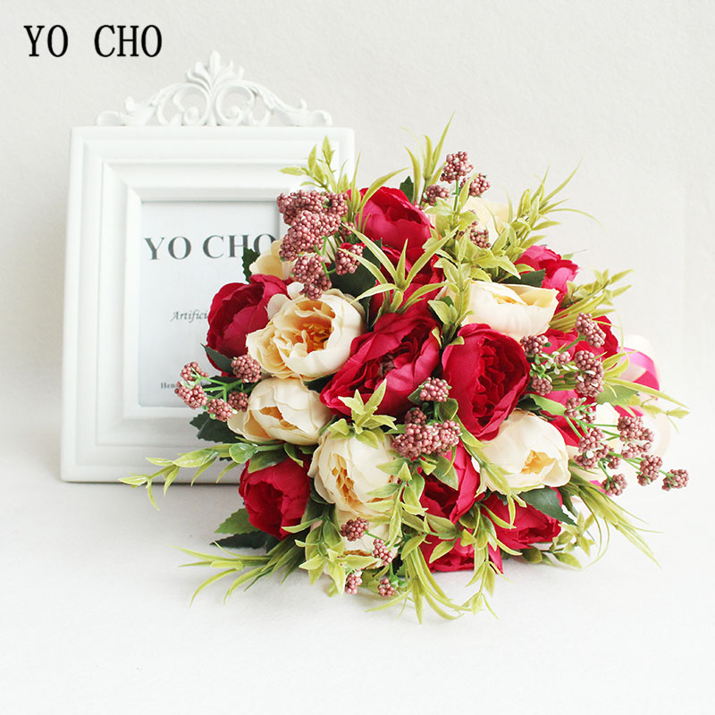 YO CHO Artificial Flower Wedding Bouquet Bridal Bouquet Holder White Silk Peony Wedding Bouquets For Bridesmaids Bouquet Mariage