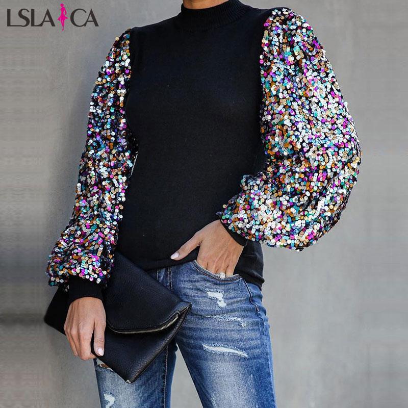 Blouse Shirt Women Lantern Sleeve Sequin Splicing O-neck Women Blouses Casual Office Ladies Tops Streetwear Fashion Women Shirts