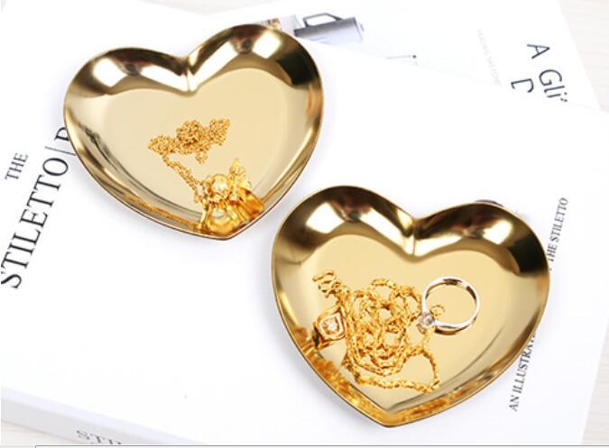 Золотое сердце-образные украшения пластина металлическое ожерелье лоток для сережек настольные украшения лоток для хранения