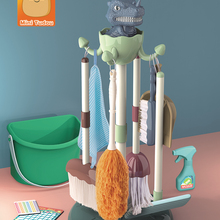 Toys Mop-Brush-Set Broom Housework-Tool Educational-Toys Dinosaur Gift Pretend Play-Cleaning