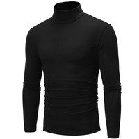 Осенне-зимний мужской пуловер свитера с высоким воротником и длинными рукавами сплошной цвет базовый тонкий теплый джемпер водолазка