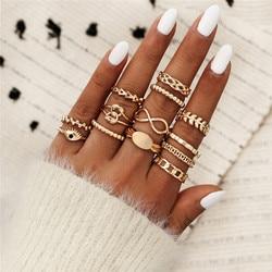 13 pçs/set intage boêmio folhas seta flor junta anéis conjunto para as mulheres ouro dedo anéis de casamento jóias