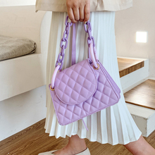 Quality Fashion Lattice PU Leather Crossbody Bags For Women Chain Solid Color Tr