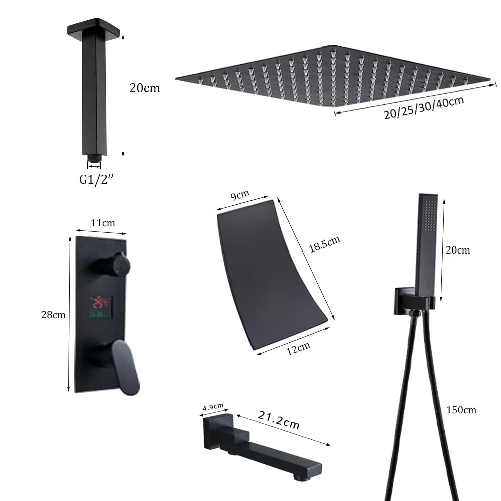 Hc5454c96b26142cfb3ed360436b08d9ea Waterfall Matte Black Bathroom Shower Faucet Black Digital Shower Faucets Set Rainfall Shower Head Digital Display Mixer Tap