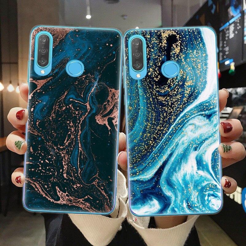 Dark Blue Marble Pattern Phone Case For Coque Huawei P10 P20 P30 P40 Lite E Pro Soft TPU Back Cover For Huawei Mate 20Lite Funda