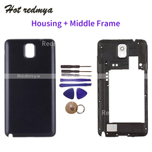 Full Note3 Housing For Samsung Galaxy Note 3 N9005 Rear Back Battery Door Cover+Middle Frame Bezel Chassis Replacement With Tool стоимость