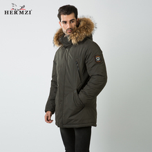 HERMZI 2019 Winter Coat Men Cotton Padded Parka Raccoon Fur Thick Long Jacket Russian Style M-4XL