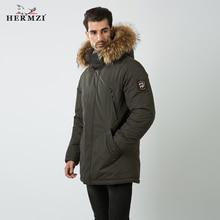 Hermzi 2020 casaco de inverno dos homens algodão acolchoado casaco parka pele de guaxinim grosso inverno longo jaqueta acolchoada estilo russo M 4XL