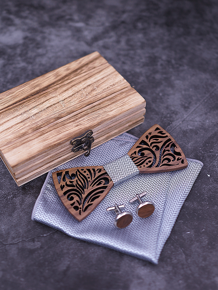 Wooden Bow Tie set and Handkerchief Bowtie Necktie Cravate Homme Noeud Papillon Corbatas