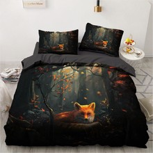 3D Bedding Sets Animal Fox Duvet Quilt Cover Set Comforter Bed Linen Pillowcase King Queen Full