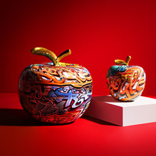 Ornaments Statue Figurine Painting Graffiti Home-Decoration Fruit Sculpture Apple Resin