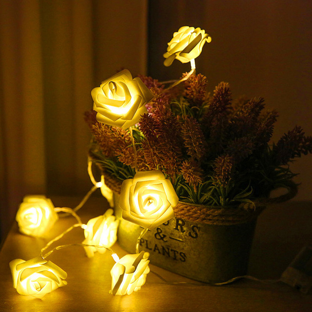 1.5M 10led Garland AA Battery LED Rose Christmas Lights Holiday String Lights Valentine Wedding Decoration Flower Bulbs LED Lamp