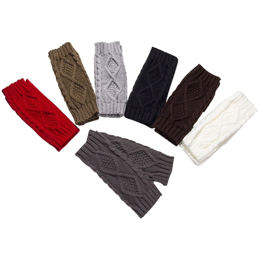 7colors Solid Color Knitted Keep Warm Arm Warmers Women Fashion Knit Arm Sleeves Fingerless Winter Gloves Soft Warm Gloves