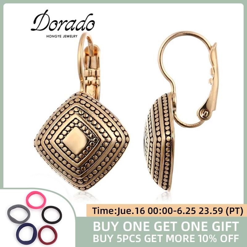 Dorado с геометрическим рисунком, свисающие серьги для женщин, серьги цвета розового золота ретро новый медный женский серьги висячие серьги м...