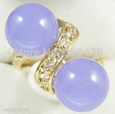 จัดส่งฟรีคู่สีม่วงหยกทองคำขาวคริสตัลแหวนขนาด: 7.8.9