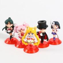 Tsukino Usagi  Sailor Saturn Chibi Usa Tuxedo Mask Chiba Mamoru Meiou Setsuna PVC Figures Toys 5pcs/set