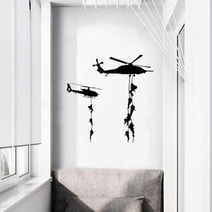 Helicóptero soldado do exército adesivos de parede vinil decalques da arte da parede para adolescentes meninos homens fãs militares quarto decoração casa