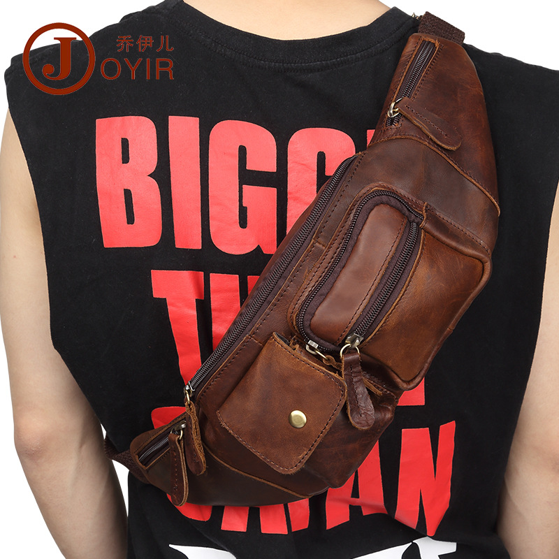 Amazon Hot Selling Men Chest Bag Casual Fashion MEN'S Real-leather Bag Crazy Cowhide Retro Shoulder Mobile Phone Waist Chest Pac