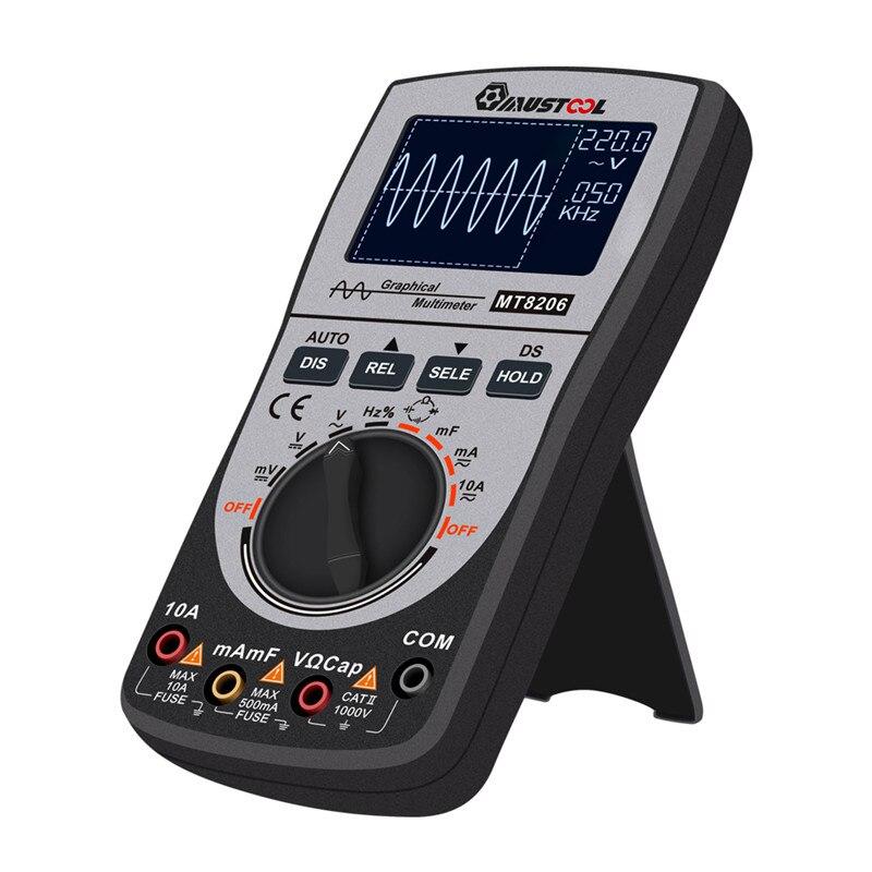Tools : MUSTOOL MT8206 Upgraded Digital Oscilloscope Multimeter 2 in 1 Intelligent Analog Bar Graph 200k High-speed A D Sampling