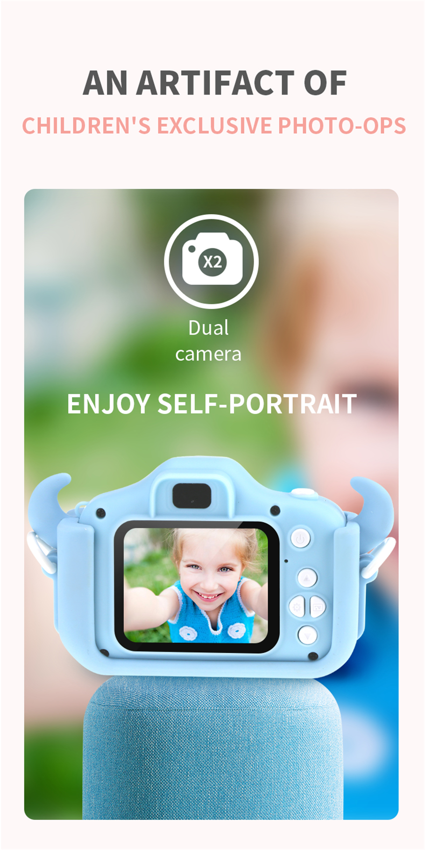 Hc54634c69ce34d44b3af3a91cc0e98a8U x8 2.0 inch Screen Kids Camera Mini Digital 12MP Photo Children Camera with 600 mAh Polymer Lithium Battery Toys Gift
