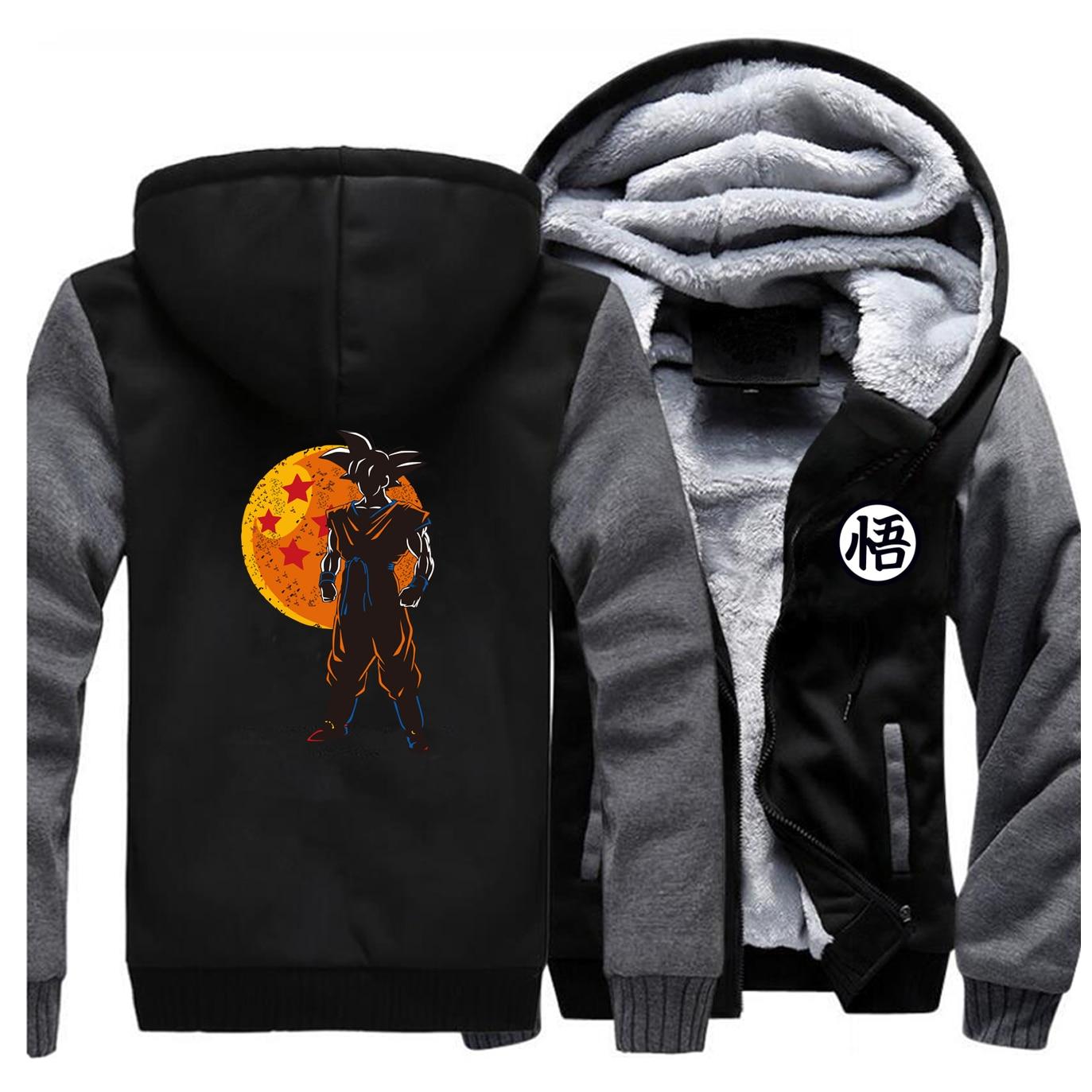 Dragon Ball Japanese Anime Jackets Sweatshirt Men Hoodies Zipper Winter Thick Fleece Coat Super   Harajuku Sportswear Mens