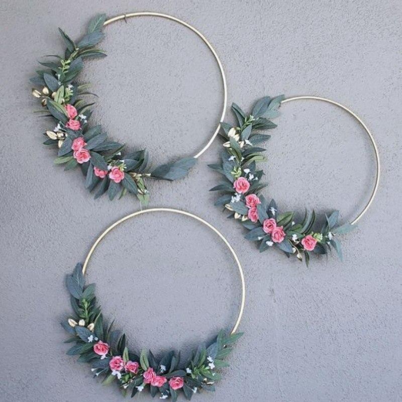 Железное кольцо, Рождественская гирлянда, свадебное украшение, венок, Ловец снов, цветочный обруч, золотой круг, круглый декор