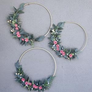 Iron Ring Christmas Deco Garland Wedding Decoration Wreath Catcher-Dream Flower Hoop Golden Circle Round Decor
