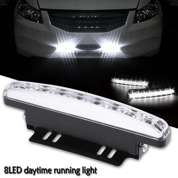 1PCS Daytime Running Light 12V 8LED Car Day Light DRL Led Auto Driving Head Fog Lamp Super White Waterproof External Car Styli image