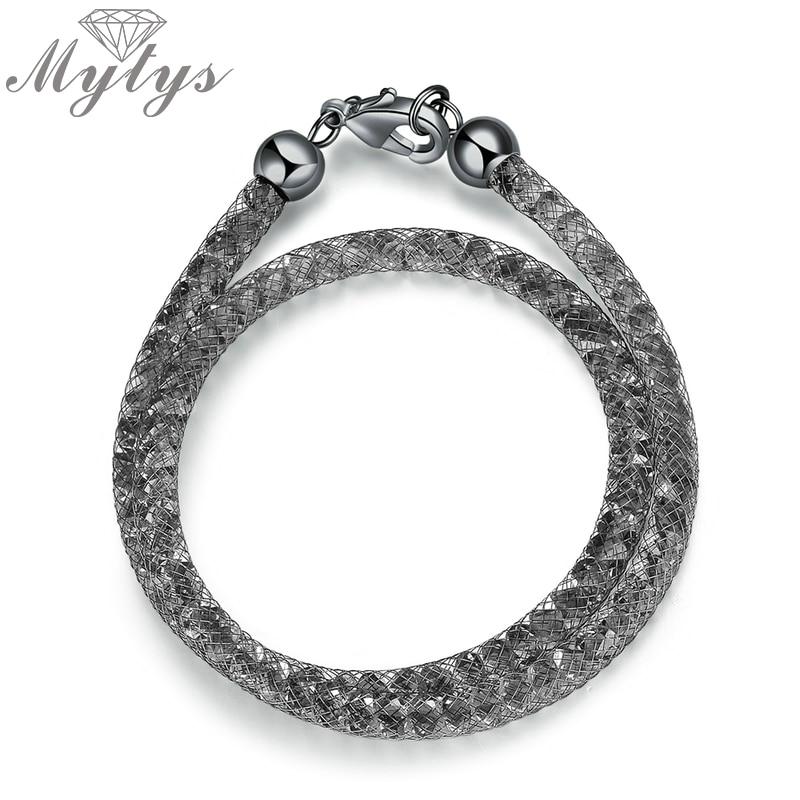 Mytys, черный браслет из проволочной сетки с кристаллами, чокер двойного назначения, два стиля одежды, модные ювелирные изделия в стиле панк, подарок B1050|Цепочки и браслеты|   | АлиЭкспресс