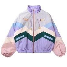 Women Bomber Jacket Embroidery Color Block Jacket Pockets Japanese Girls Harajuku Style Jacket Coat
