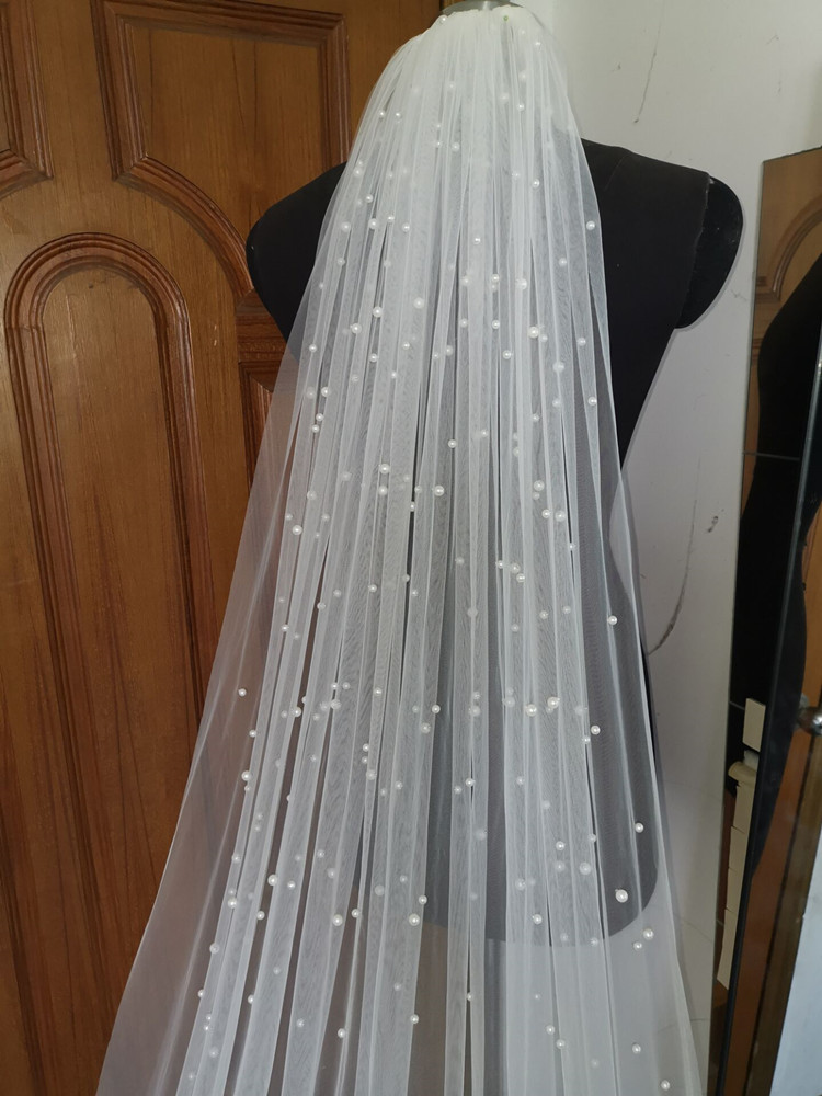 Image 2 - Real Photos White Ivory Long Pearl Veil One Layer Bridal Veil Cathedral 3 Meters Wedding Veil with Pearls Wedding AccessoriesBridal Veils   -